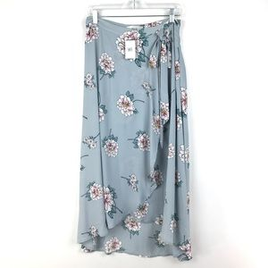 J.O.A. LOS Angeles Faux Wrap Floral Midi Skirt 404